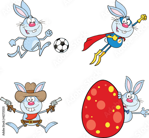 Cute Rabbits Cartoon Mascot Characters 7. Set Collection