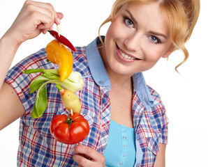 isolated Woman holding vegetable skewers