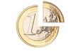 Broken one euro coin closeup