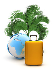 Suitcase, earth globe and palm tree on white background