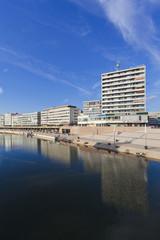 Deutschland, Saarland, Ansicht der Saar und Berliner Promenade