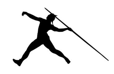 silhouette of javelin thrower
