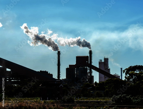 Chimneys of a coal fired factory