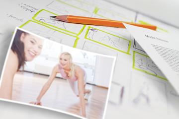 Bild von Lehrer und Frau im Fitnessstudio