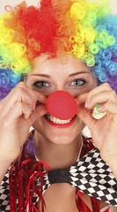 Frau, die Clowns -Kostüm
