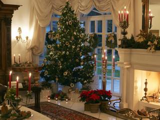 Deutschland, Hessen, festlichen Weihnachts- Wohnzimmer mit Weihnachtsbaum und Kamin