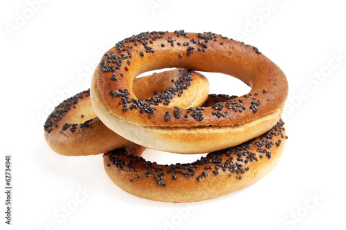 Bagels with poppy seeds isolated on white background
