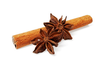 Сinnamon stick and stars anise isolated on a white background