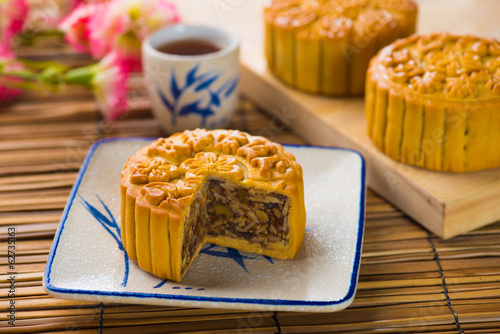 Mooncake and tea,Chinese mid autumn festival food.