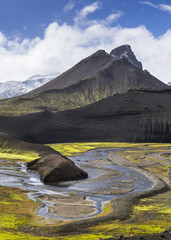 Island, Sudurland, Region Landmanalauger, Berge und Fluss
