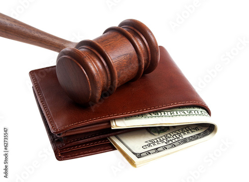 Wooden gavel and wallet with money isolated on a white backgroun