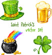 Sketch Saint Patrick day set, vector illustration