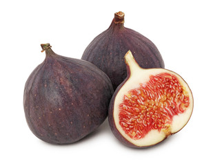 Two whole and a half ripe figs (isolated)
