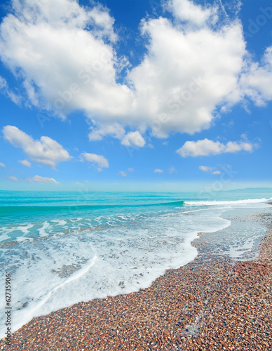 pebbles, waves  and clouds
