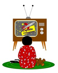 boy watching tv retro style