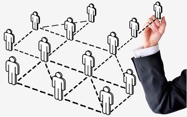 business man draw social network