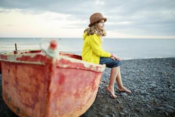 Beach, boat and girl - Portrait of lovely girl on the beach