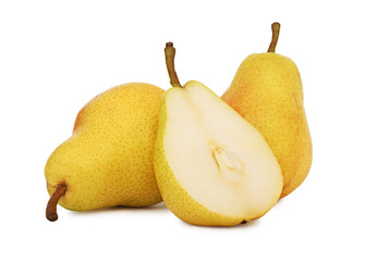 Two whole and a half yellow pears (isolated)