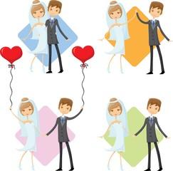 Набор мультфильм свадебных фотографий