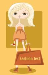 Мультфильм модные девушки с мешком, мода фон