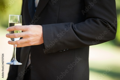 Mid section of a man holding champagne glass at park