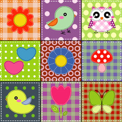 Background with heart, flower, mushrooms, butterfly and birds