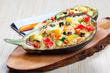 Stuffed eggplants with couscous with vegetables