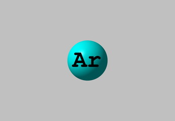 Argon molecular structure isolated on gray