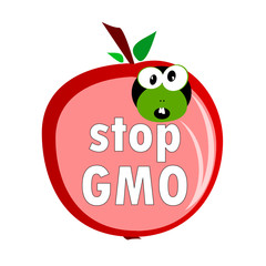 stop gmo with worm color vector