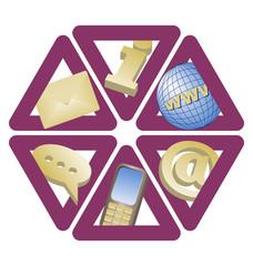 set of six trianglular contact icons