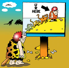 You are here caveman watching stages of man