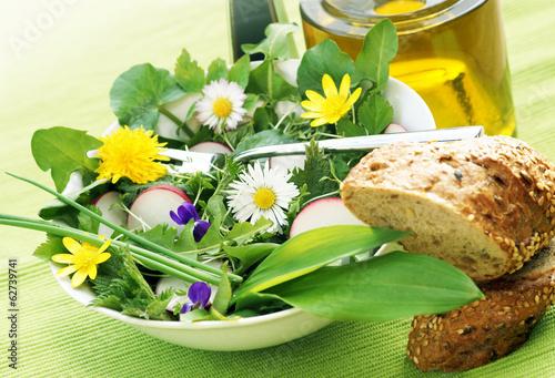 Plexiglas Salade Salat aus Wildkräutern