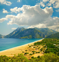 Beach at Mediterranean sea. Cirali, Turkey