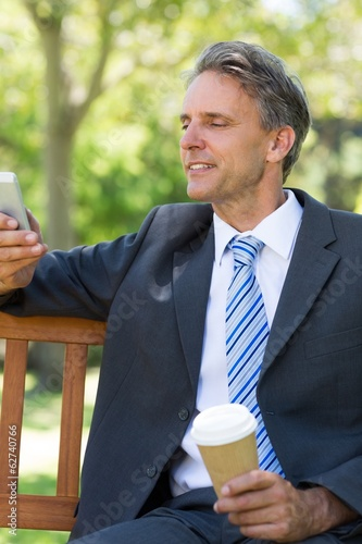 Businessman using cellphone at park