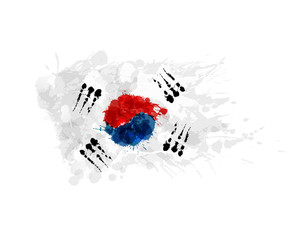 Flag of South Korea made of colorful splashes