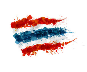 Flag of Thailand made of colorful splashes
