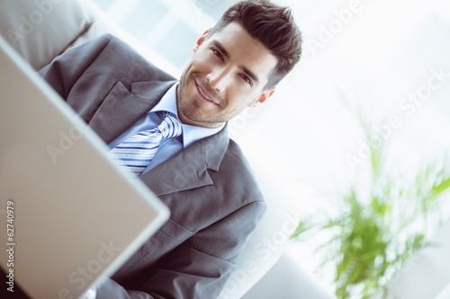 Handsome businessman sitting on couch using his laptop