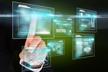 Finger pointing to business interfaces