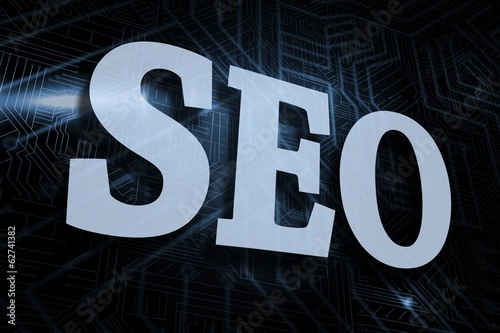Seo against futuristic black and blue background