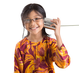 Young Girl With Tin Can Telephone