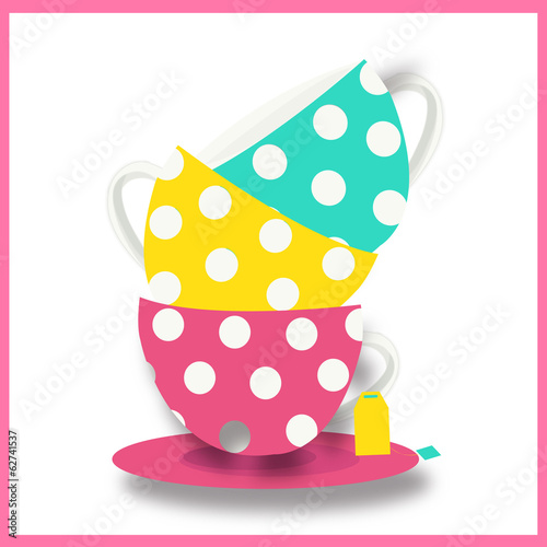 Colorful teacup vector