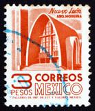 Postage stamp Mexico 1951 Modernistic Church, Nuevo Leon poster