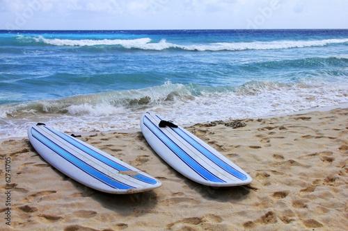 Fototapeta Surfboards at beach