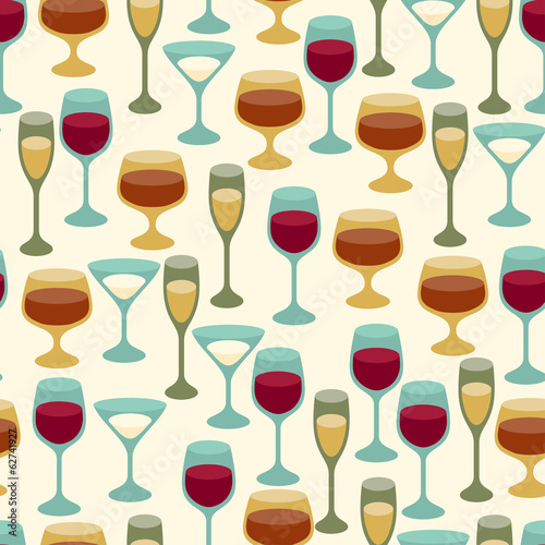 Seamless pattern with wine glasses.