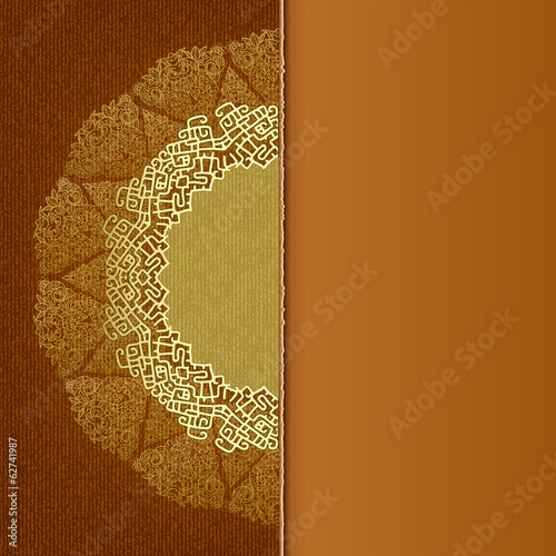 Elegant brown background with lace ornaments