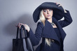 Beautiful Blond Woman in Hat.Lady in Topcoat.Girl with Handbag