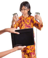 Young Girl With Tablet Computer And Tin Can Phone