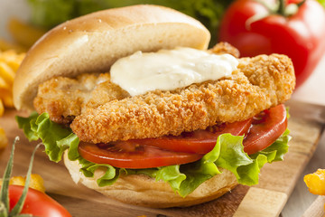 Breaded Fish Sandwich with Tartar Sauce