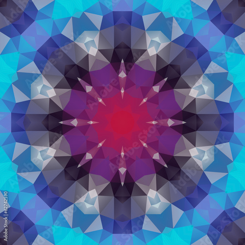 Abstract composition of triangles gathered in a circle.