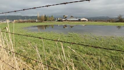 Farm Land Flooding Dolly Shot